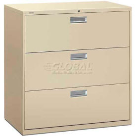 "HON® - Brigade®  600 Series 3 Drawer Lateral File, 42""W, Putty"