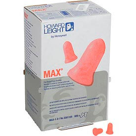 Howard Leight™ MAX-1-D MAX® Ear Plugs, Disposable, NRR 33, Uncorded, 500 Pairs/Box