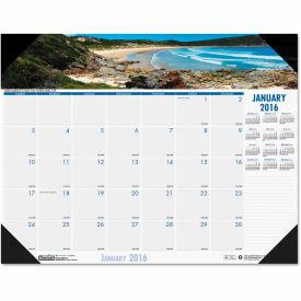 House of Doolittle™ Coastlines Photographic Monthly Desk Pad Calendar, 22 x 17, 2019