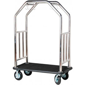 Hospitality 1 Source Estate Bellman Cart, Curved Uprights, Black Carpet