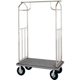 Hospitality 1 Source Chrome Transporter Bellman Cart, Straight Uprights Burgundy Carpet Black Bumper
