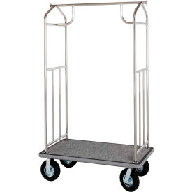 Hospitality 1 Source Chrome Transporter Bellman Cart, Straight Uprights, Gray Carpet, Black Bumper