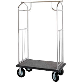 Hospitality 1 Source Steel Transporter Bellman Cart, Straight Uprights, Gray Carpet, Black Bumper
