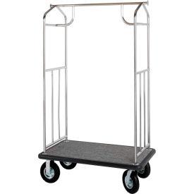 Hospitality 1 Source Steel Transporter Bellman Cart, Straight Uprights, Black Carpet, Gray Bumper