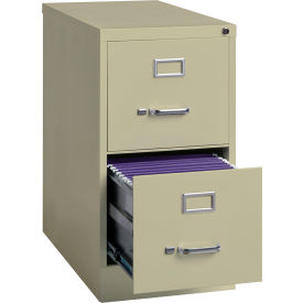 """Hirsh Industries® 25"""" Deep Vertical File Cabinet 2-Drawer Letter Size - Putty"""