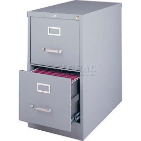 "Hirsh Industries® 25"" Deep Vertical File Cabinet 2-Drawer Letter Size - Light Gray"