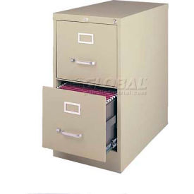 "Hirsh Industries® 26-1/2"" Deep Vertical File Cabinet 2-Drawer Letter Size - Putty"