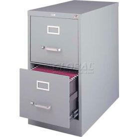 "Hirsh Industries® 26-1/2"" Deep Vertical File Cabinet 2-Drawer Letter Size - Light Gray"