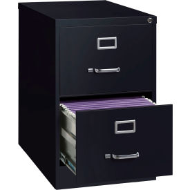 "Hirsh Industries® 26-1/2"" Deep Vertical File Cabinet 2-Drawer Legal Size - Black"