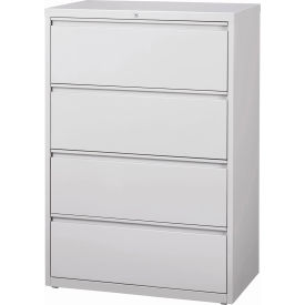 "Hirsh Industries® HL10000 Series® Lateral File 36"" Wide 4-Drawer - Light Gray"