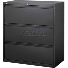 "Hirsh Industries® HL10000 Series® Lateral File 42"" Wide 3-Drawer - Black"