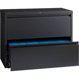 "Hirsh Industries® HL10000 Series® Lateral File 36"" Wide 2-Drawer - Charcoal"