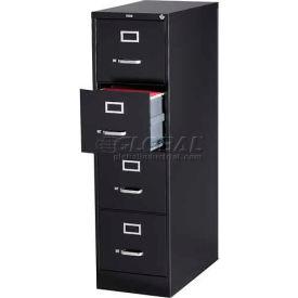 "Hirsh Industries® 26-1/2"" Deep Vertical File Cabinet 4-Drawer Letter Size - Black"