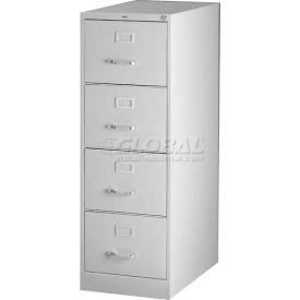 "Hirsh Industries® 26-1/2"" Deep Vertical File Cabinet 4-Drawer Letter Size - Light Gray"