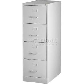 "Hirsh Industries® 25"" Deep Vertical File Cabinet 4-Drawer Legal Size - Light Gray"