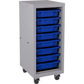 "Hirsh Industries® Mobile Bin Tower Platinum 22608 with 8 Blue Bins - 15"" x 18"" x 36"""