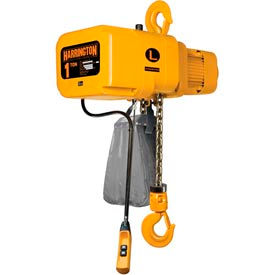 NER Electric Chain Hoist w/ Hook Suspension 1 Ton, 15' Lift, 14 ft/min, 460V by