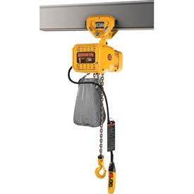 NER Dual Speed Elec Hoist w/ Push Trolley - 1/8 Ton, 20' Lift, 55/9 ft/min, 460V