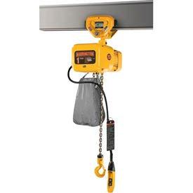 NER Electric Chain Hoist w/ Push Trolley - 1/4 Ton, 15' Lift, 53 ft/min, 460V