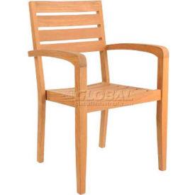 Hi-Teak Outdoor Afternoon Tea Stacking Armchairs, Unfinished Teak Wood - Pkg Qty 4