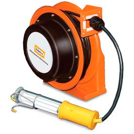 Hubbell ACA16335-FL Industrial Duty Cord Reel with Fluorescent Hand Lamp - 16/3c x 35', Aluminum