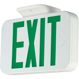 Compass Lighting CAG LED Exit, White with Green LEDs, Universal Face, AC Only, 120-277V