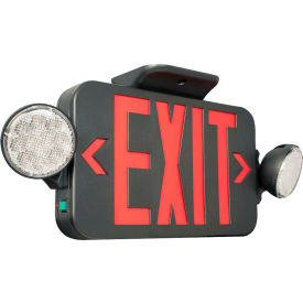 Hubbell CCRB LED Combo Exit/Emergency Unit, Red Letters, Black, Ni-Cad Battery