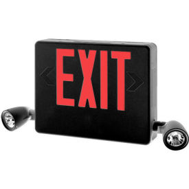 Hubbell HCXURB Designer LED Combo Exit/Emergency Unit, Remote Capacity, Black, Red Letters