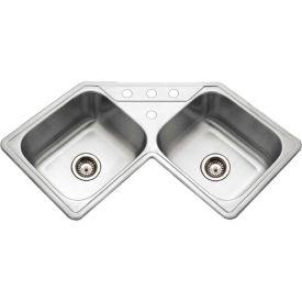 Houzer LCR-3221-1 Drop In Stainless Steel 4-Hole Corner Bowl Kitchen Sink