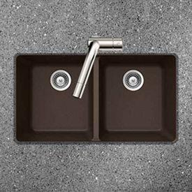 Houzer M-200U MOCHA Granite Undermount 50/50 Double Bowl Kitchen Sink, Mocha