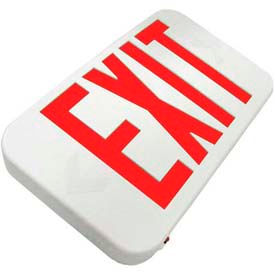 Howard Lighting Exit Sign, 120/277V, 6V Battery, Plastic, Red Letter, White Reflector