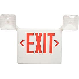 Howard Lighting Exit/Emergency, 120/277V, 6V Battery, Plastic, White Reflector, Red Letter