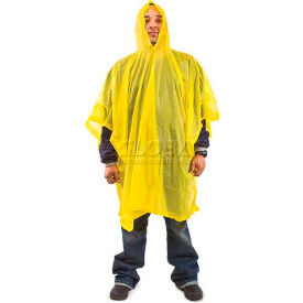"ComfitWear® Hooded Poncho, 50"" x 80"", One Size, Yellow - Pkg Qty 48"