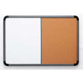 """Iceberg Combo Dry Erase/Cork Board with Blow Mold Frame, 66""""W x 42""""H - Charcoal"""