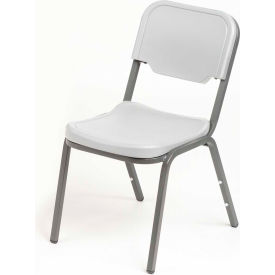 Iceberg Plastic Stack Chair - Platinum - Pack of 4 - Rough 'N Ready Series