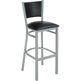 Iceberg Bistro Stool - Metal with Padded Back and Seat - Black