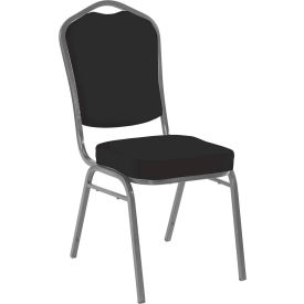 Iceberg Banquet Stacking Chair - Crown - Black - Silver Vein Frame - Pack of 4