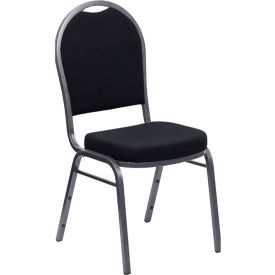 Iceberg Banquet Stacking Chair - Dome - Black - Silver Vein Frame - Pack of 4