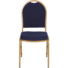 Iceberg Banquet Stacking Chair - Dome - Navy Blue Pattern - Gold Vein Frame - Pack of 4