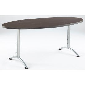 "Iceberg ARC Adjustable Height Conference Table - 36"" x 72"" Oval - Gray Walnut"