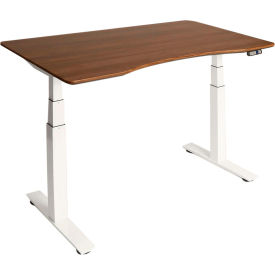 "AIRLIFT™ S3 Electric Height Adjust Desk - 54""W x 30""D x 25.6""-51.4""H - Walnut with White Frame"