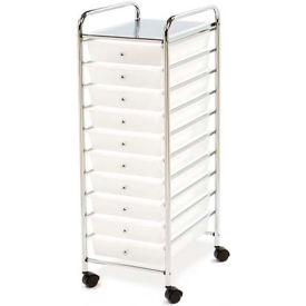"""Seville Classics 15-5/16""""L x 12-13/16""""W x 38-3/16""""H 10-Drawer Organizer Cart Frosted White by"""