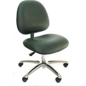 Heavy Duty High Back Clean Room Vinyl Chair with Aluminum Base Dark Gray