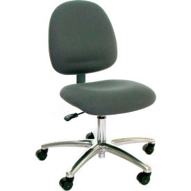 Mid Back Conductive Fabric Chair with Aluminum Base Gray