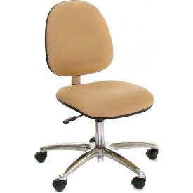 Heavy Duty Mid Back Vinyl Clean Room Chair with Aluminum Base Black