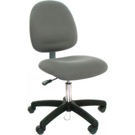 Mid Back Conductive Fabric Chair with Nylon Base & Drag Chain Gray