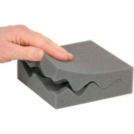 """Charcoal Convoluted Foam Set, 6""""W X 6""""L X 2""""D - 64 - Pkg Qty 64"""