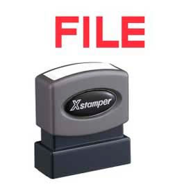 "Xstamper® Pre-Inked Message Stamp, FILE, 1-5/8"" x 1/2"", Red"