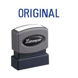 "Xstamper® Pre-Inked Message Stamp, ORIGINAL, 1-5/8"" x 1/2"", Blue"