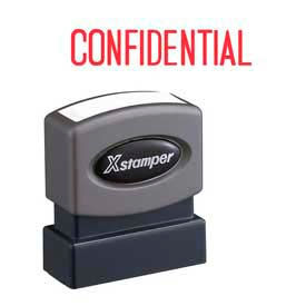 "Xstamper® Pre-Inked Message Stamp, CONFIDENTIAL, 1-5/8"" x 1/2"", Red"